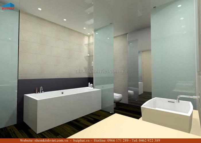 Kính màu ốp tường phòng tắm