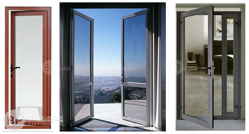 cửa nhôm kính đẹp, mẫu cửa nhôm kính,