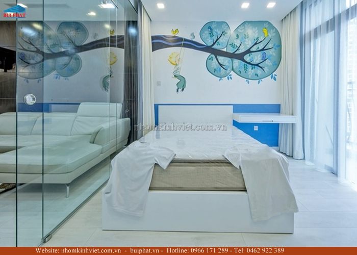 Vách ngăn kính phòng ngủ
