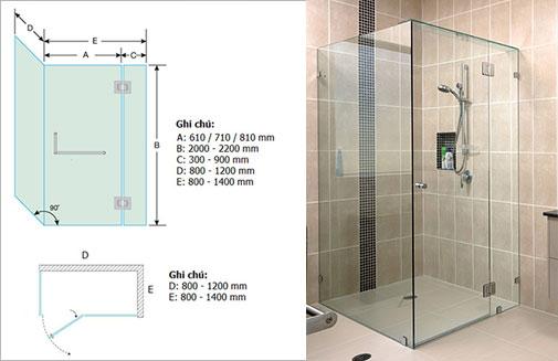 Vách tắm kính mở quay vuông góc