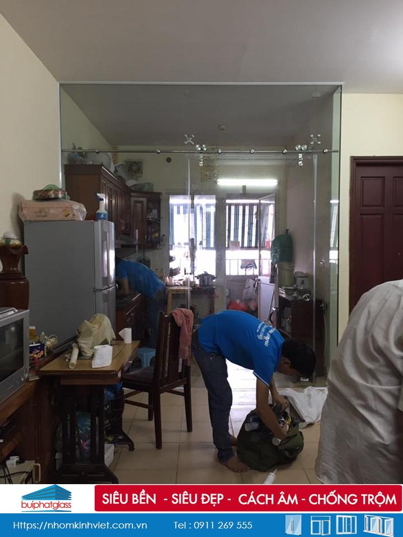 Lắp cửa kính cường lực tầng 1 chung cư Ngô Thị Nhậm Hà Đông