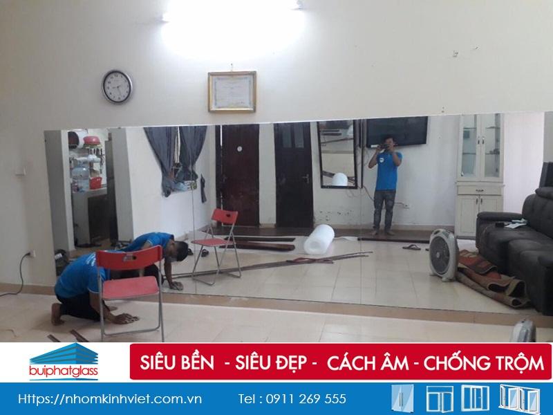 Lắp gương cho phòng tập Yoga tại tòa CT2 Văn Khê Hà Đông