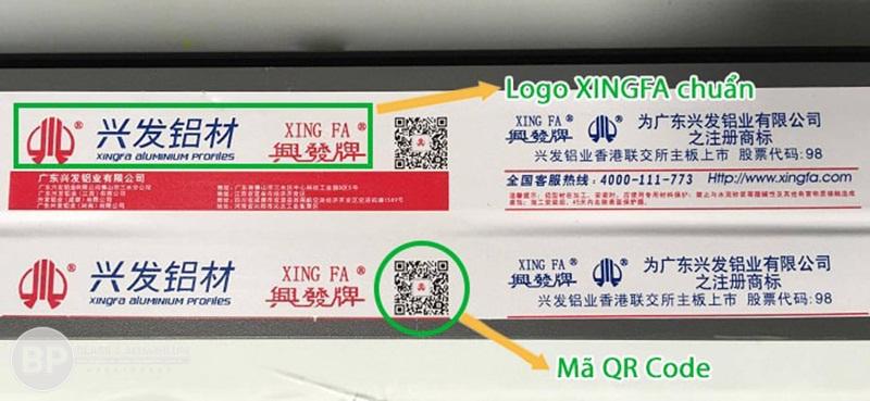 tem nhôm XINGFA chuẩn xác 100% có mã Code QR