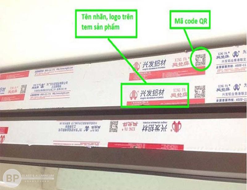 mẫu tem nhôm XINGFA mầu đỏ chính hãng nhập khẩu 100% Quảng Đông có mã Code QR